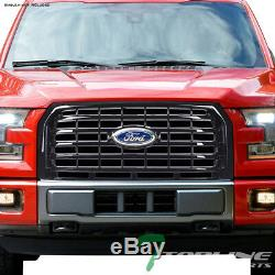 Topline For 2015-2017 Ford F150 Horizontal Front Hood Bumper Grill Grille Blk