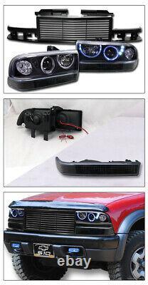 Topline For 98-04 S10 Black Halo LED Projector Headlights+Bumper+H Grille Matte
