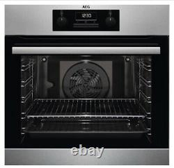 Aeg Beb231011m Surroundcook Integrated Single Oven, S/steel Blk Glass A Rated
