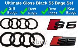 Audi S5 Gloss Black Badge Anneaux Grille Boot Kit Emblem Badge Set Blk Brillant