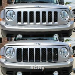 Black Horse 2011-2017 Jeep Patriot Overlay Grille Trims Gloss Black