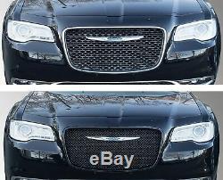 Black Horse 2015-2019 Chrysler 300 Overlay Grille Trims Gloss Black
