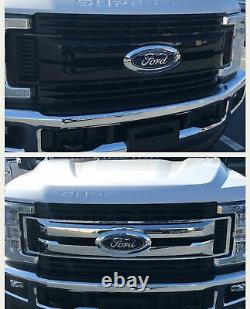 Black Horse 2017-2019 Ford F-350 Grille Overlay Trims Gloss Black
