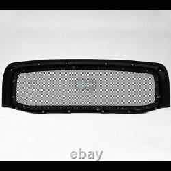 Fit 02-05 Dodge Ram Blk Phare Parking Signal Nb+rivet Bolt Mesh Avant Grille
