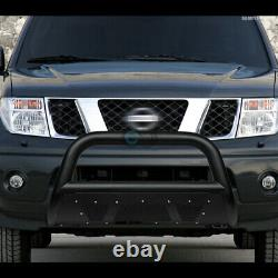 Fit 05-21 Nissan Frontier/xterra Textured Blk Studded Mesh Bull Bar Grille Guard