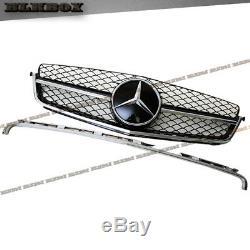 Fit Benz 08-14 W204 C-sedan Pare-choc Avant Grille- Chrome Gloss Black B-mesh Rechercher