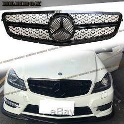 Fit Benz 08-14 W204 C-sedan Pare-choc Avant Grille Set- Tous Gloss Laque Noir B-mesh