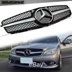 Fit Benz 08-14 W204 C-sedan Pare-chocs Avant Grille-set Chrome Gloss Black B-sl Rechercher
