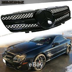 Fit Benz Sl-r230 03-06 Modèle Pare-chocs Avant Grille Tous Shiny Couverture D-black Sl Rechercher