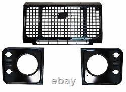 Gloss Plein De Style Noir 3pc Heritage Kit Grille Frontale Pour Land Rover Defender