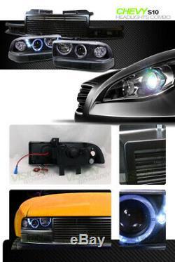 Led Black Halo Projecteur Phares + Pare-chocs K2 + Grille Avant Pour 98-04 Blazer S10