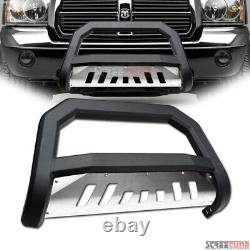 Pour 05-10 11 Dodge Dakota Matte Blk Avt Bull Bar Bumper Grill Grille Guard+skid