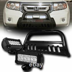 Pour 05-15 Toyota Tacoma Blk Bull Bar Bumper Grille Guard+36w Cree Led Fog Lampes