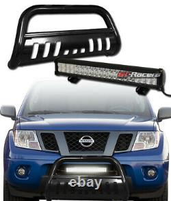 Pour 05-21 Frontier Truck Blk Bull Bar Pare-chocs Grill Guard+120w Cree Led Fog Light