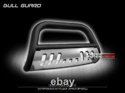 Pour 08-14 Ford E150/e250/e350 Matte Blk Bull Bar Push Bumper Grill Guard+ss Skid