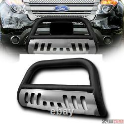 Pour 11-19 Ford Explorer Matte Blk Bull Bar Brush Push Bumper Grill Guard+ss Skid
