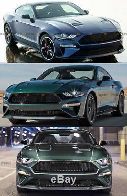Pour 18-19 Ford Mustang Bullitt Style Texturé Blk Nid D'abeille Haut + Bas Grille