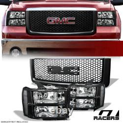 Pour 2007-2013 Gmc Sierra 1500 Blk Phares Signal+round Hole Mesh Front Grille
