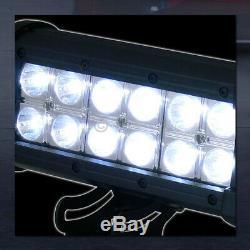 Pour 2007-2018 Silverado / Sierra LD Matte Blk Clouté Mesh Bull Bar + 36w Led Lights