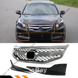 Pour 2011-12 Honda Accord 4dr Blk Chrome Sport Grill + Pare-choc Avant Splitters Lèvres