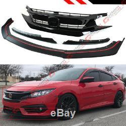 Pour 2016-18 10 Gen Honda CIVIC Pare-chocs Avant Lèvres Splitter + Rs Style Blk Grill