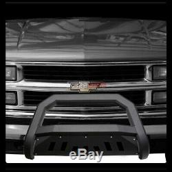 Pour 97-00 Chevy / Gmc C10 C / K Truck / Suv Matte Blk Avt Bull Bar Garde Bumper Grille