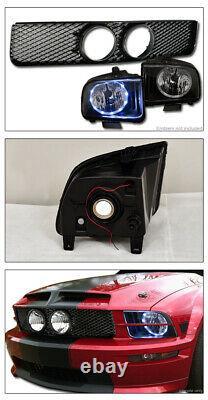 Topline Pour 2005-2009 Ford Mustang Gt Halo Led Blk Phares + Grille Avant Mesh